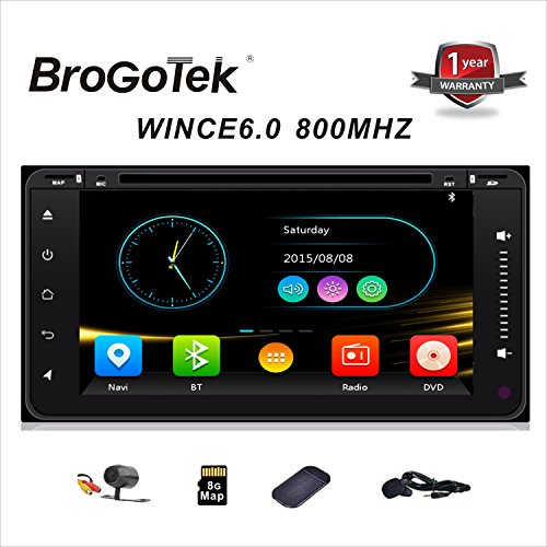 DVD Car Stereo with Bluetooth and Navigation for Toyota Universal Car GPS 6.95 inch Full Touch Screen Head Unit Double Din with Free SD Card Included Map Free Backup camera and Car Anti-Slip Mat