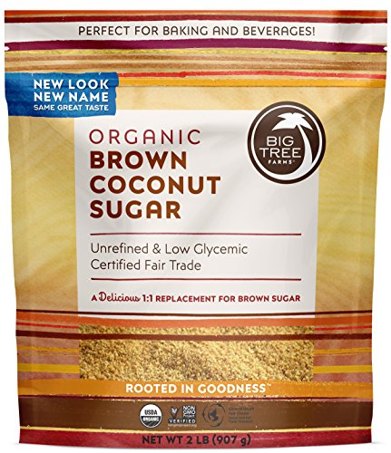Tree Farms Big Coconut (Big Tree Farms Organic Brown Coconut Sugar, Non-GMO, Gluten Free, Vegan, Fair Trade, Natural Sweetener, 2 Pound (Packaging May Vary))