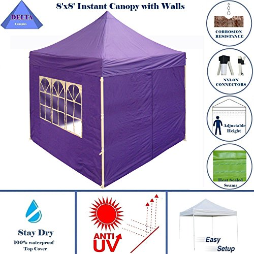 8'x8' Pop up 4 Wall Canopy Party Tent Gazebo Ez Purple - By DELTA Canopies