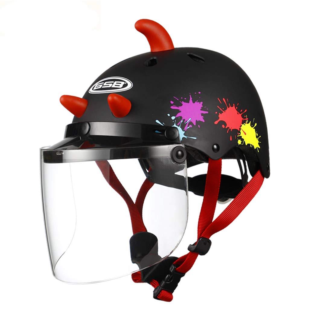 JiaoLiao Kinderhelm Elektrische Motorrad Baby Helm Kind Sommer Sonne Jungen Jungen Und Mädchen Saison Helm Objektiv Abnehmbar (Farbe   schwarz and ROT Horns)