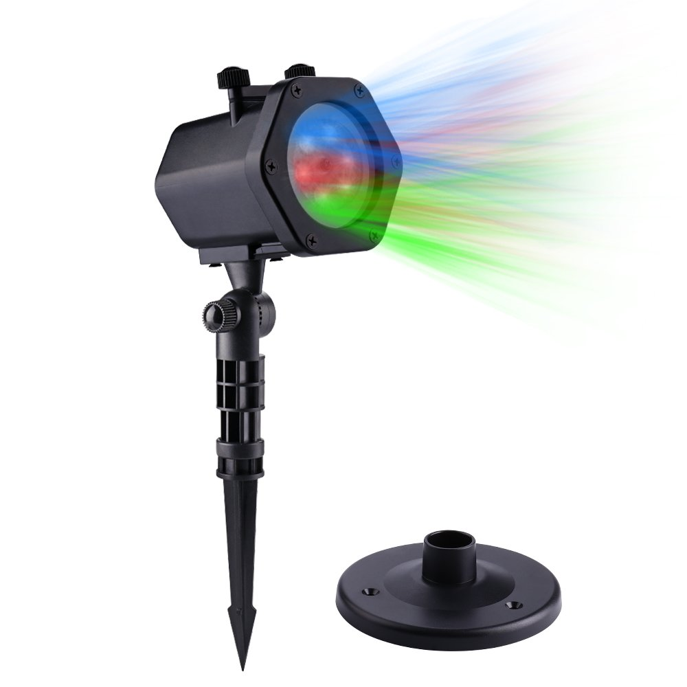 Icicle LED Lights Projector, Automatic Rotating RGB Waterproof Projection Lights, Fairy Landscape Spotlights with 12 Dynamic Slides for Garden, House, Party, Holiday, Villa, Lawn, Outdoor Decorations