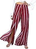 BerryGo Women's Casual High Waist Print Split Stripe Boho Wide Leg Pants Red,S