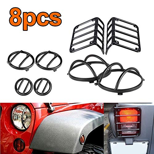 Jubatus 2007-2017 Jeep Wrangler JK Light Guard 8 Pieces Kit for Rear Taillights & Headlamps & Front Parking Lights & Side Marker Lights Guard Cover Protector