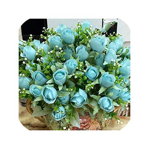 Artificial Flowers 10 15 Heads Rose Floral Bouquet Fake Flower Arrange Table Rose Wedding Decoration Silk,Blue 33cm