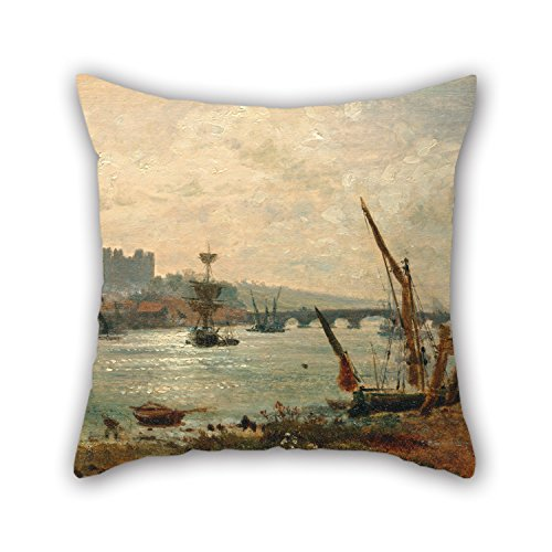 Alphadecor Throw Pillow Covers Of Oil Painting Frederick Nash - Rochester Cathedral And Castle 16 X 16 Inches / 40 By 40 Cm,best Fit For Kids,bf,drawing Room,adults,dining Room,floor Two Sides