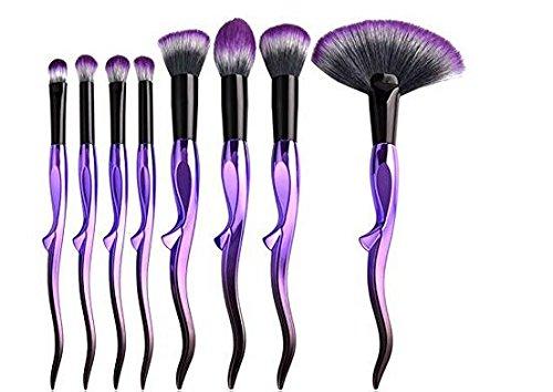 BOOYE Makeup Brush Set ,8 Pcs Beauty Cosmetic Conch Design Handle Shape Makeup Brush Tool Set White Synthetic Base Brush