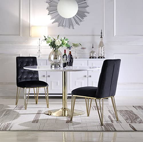 Iconic Home Callahan Dining Side Chair Button Tufted Velvet Upholstered Solid Gold Tone Metal Base Spindle Legs Set of 2 Modern Contemporary