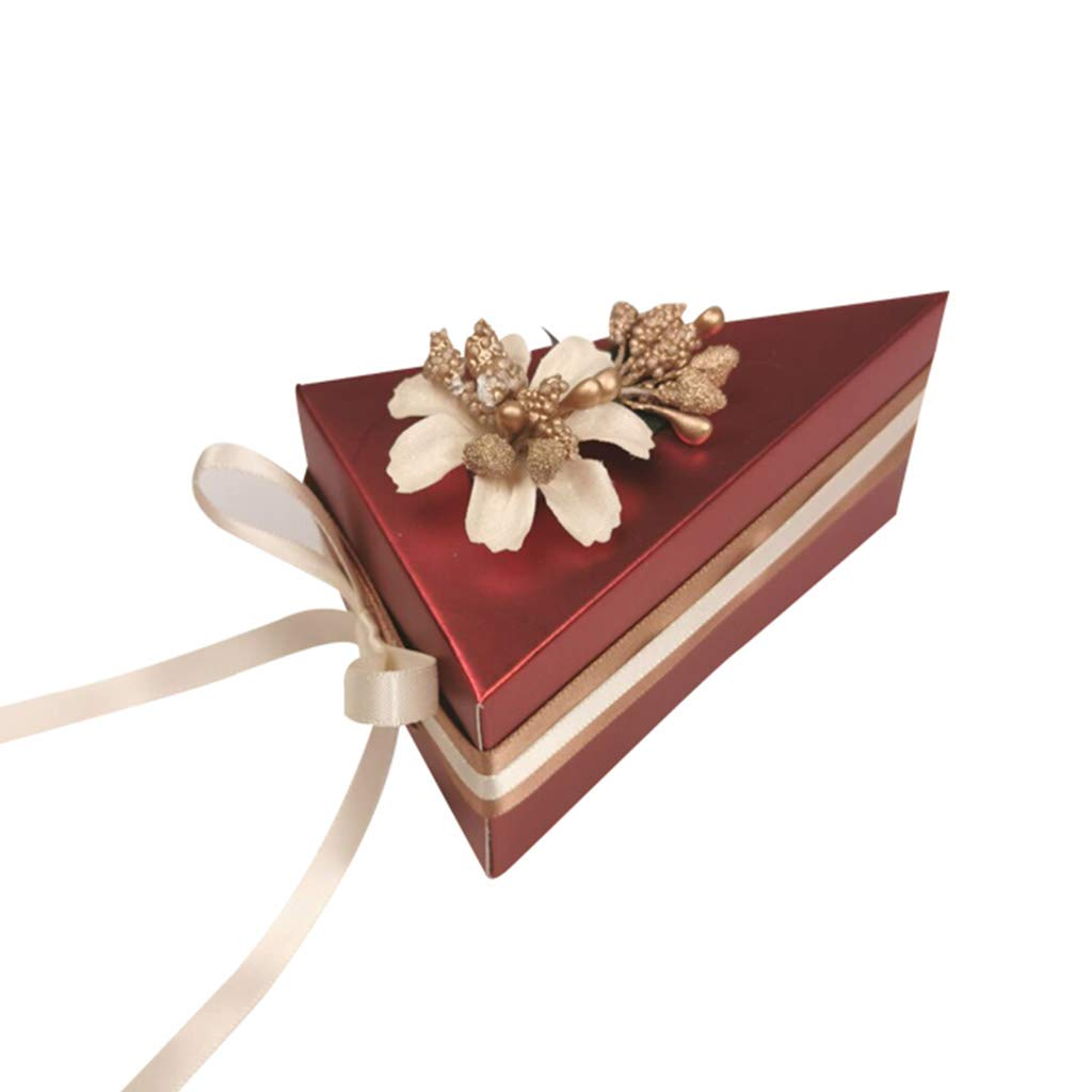 50 Pcs Red Wedding Favour Boxes, Wedding Party Bridal Shower Use, Creative DIY Guests Gift Candy Boxes with Flower Ribbons 100pcs