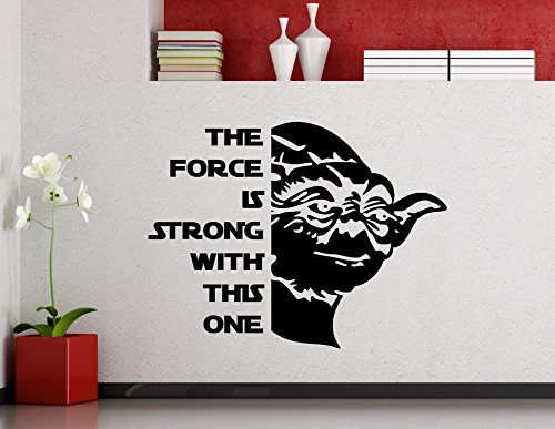 The Force Is Strong With This One Star Wars Wall Vinyl Decal Jedi Master Yoda Quote Vinyl Sticker Home Teen Kids Room Nursery Art Decor Lettering Vinyl Mural (15sw)