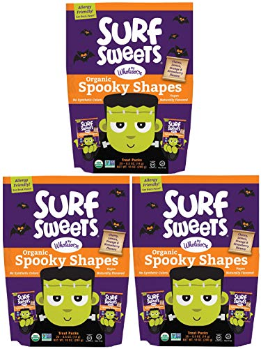 Surf Sweets Organic Fruit Snacks by Wholesome - Halloween Trick or Treat Candy Bags, 20-0.5 Ounce (Pack of 3) with Spooky Shapes in Cherry, Lemon, Orange and Strawberry Flavors - Gluten-Free, Non-GMO -