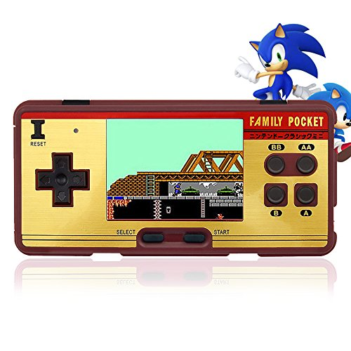 E-MODS GAMING Hisonders 8 bit 2.8'' TFT LCD FC Retro Digital Games Portable Console Built-in 508+130 Games with Speaker - Brown