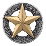 """F9951-SRTPGP 1 and 1/8"""" Raised Star Engraved Concho 10pcs Antique Silver and Gold"""