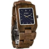JORD Wooden Wrist Watches for Men or Women - Reece Series / Wood Watch Band / Wood Bezel / Analog Quartz Movement - Includes Wood Watch Box (Walnut & Navy)