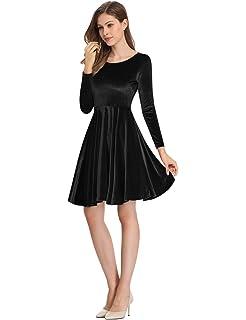 Leadingstar Women s Velvet Long Sleeve A-Line Swing Eleglant Skater Mini  Dress 2aa85ff2c