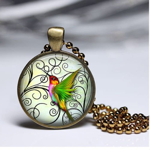 Hummingbird Necklace Hummingbird Jewelry Pastel Green Wonderful Gift, Glass Dome Art Picture Pendant Photo Pendant Handcrafted - Pictures Handcrafted