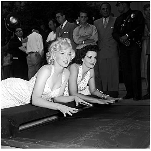 Marilyn Monroe with Jane Russell Ready to Place Hands in Cement 8 x 10 Inch Photo