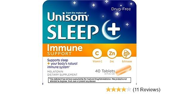 Amazon.com: Unisom Sleep + Immunity Dietary Supplement, 3 mg Melatonin, 40 Tablets: Health & Personal Care