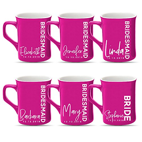 Personalized Bridesmaid Gift, Customized Bride Squad Coffee Mug - FREE Laser Engraving | Design -2, Set of 6