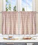 Ellis Curtain Davins Multi Colored Ikat Check 100-Percent Cotton Twill (Tailored Tier Curtains, 56 x 24', Clay)