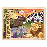 Melissa & Doug African Plains Safari Wooden Jigsaw Puzzle With Storage Tray
