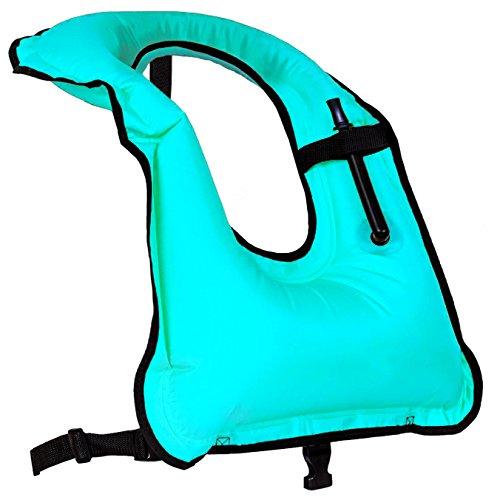 (Faxpot Men/ Women Adult Inflatable Life Jacket Snorkel Vest For Swimming)