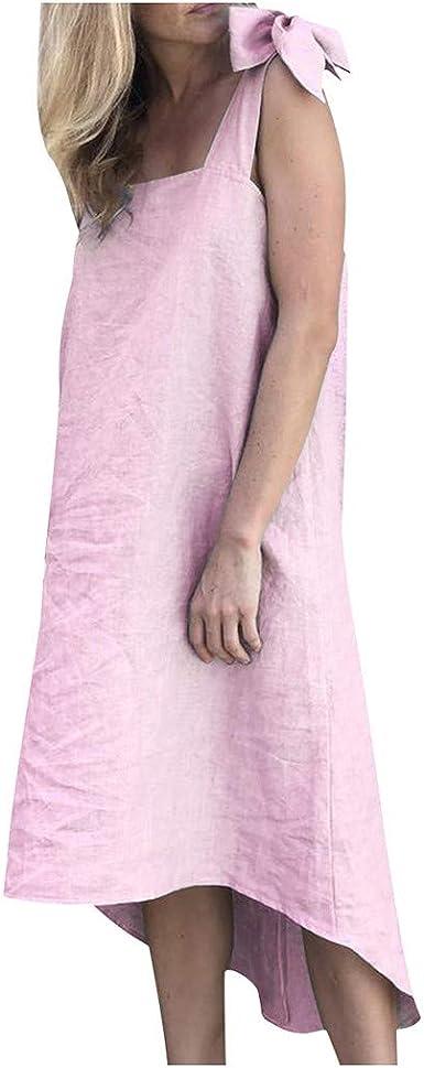Vestido Largo de Lino y algodón con Tirantes Sexy, sin Mangas ...