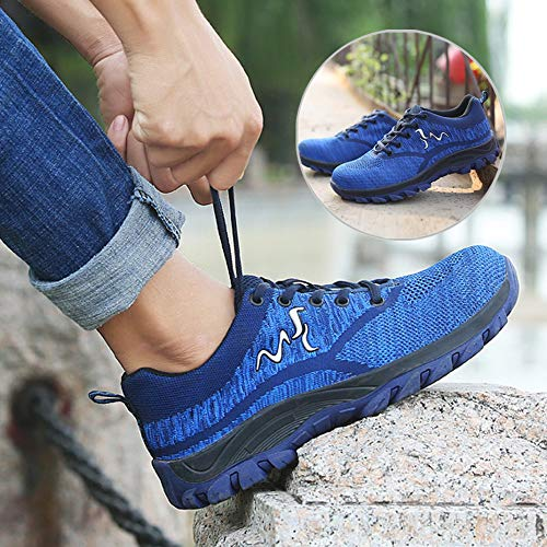 1307876fa154e UPSTONE Work Shoes for Men, Indestructible Steel Toe Battlefield Shoes Work  Safety Womens Shoes Breathable Construction Sneakers, 118 Blue 36