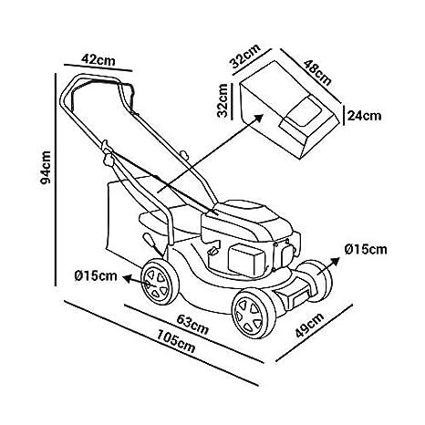 Greencut GLM680SX - Cortacésped con tracción manual con motor de gasolina de 139cc y 5cv y arranque manual Easy-start, con un ancho de corte de 407mm ...