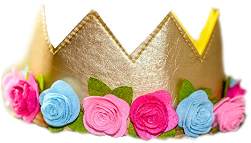 (Girls Birthday Flower Crown Felt Gold Pink Princess Faux Leather Stretch Simply Gorgeous Pretend Play)