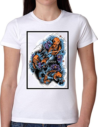 T SHIRT JODE GIRL GGG22 Z0060 FISH RIVER CARTOON TATTOO STYLE VINTAGE FUNNY FASHION COOL BIANCA - WHITE L