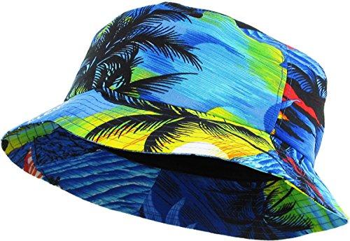 KBM-027 Roy Hawaiian Floral Print Bucket Hat Cap Royal Blue