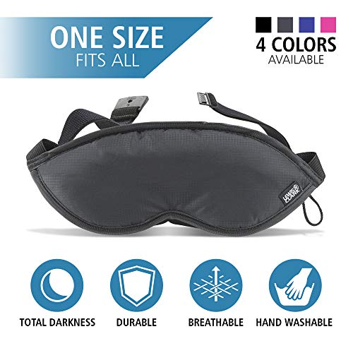Lewis N. Clark Comfort Eye Mask + Sleep Aid to Block Light for Travel, Airplane, Hotel, Airport, Insomnia + Headache Relief with Adjustable Straps, Black