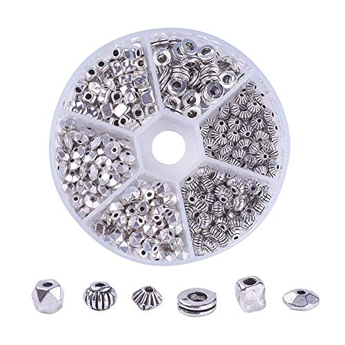 Craftdady 360Pcs/box Antique Silver 6 Styles Spacer Beads Lead Free & Cadminum Free Tibetan Flat Round/Corrugated Melon/Bicone/Disc/Polygon/Cuboid Tiny Metal Loose Charm Beads for DIY Jewelry ()