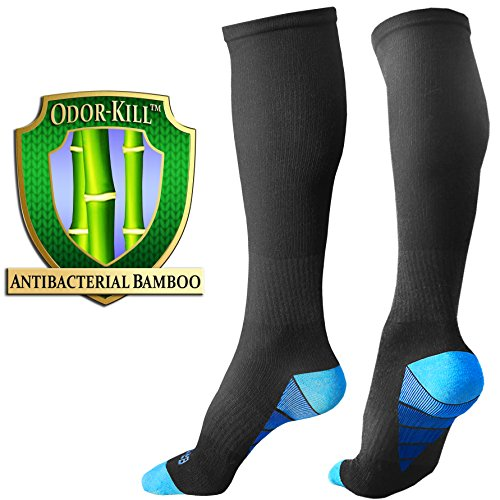 BAMS Bamboo Odor-Kill Black Compression Socks for Men Women | ULTRA-SOFT Best Knee-High Graduation with Arch Ankle Support for Gym, Sports, Running, Work, Nurse, Pregnancy, Medical, Diabetic, Travel -