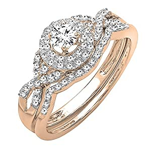 0.50 Carat (ctw) 14K Rose Gold Round Diamond Ladies Halo Engagement Ring Set 1/2 CT (Size 4)