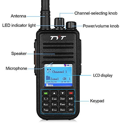 GBTIGER TYT MD - 380 DMR Portable Walkie Talkie, Digital Radio UHF 400 - 480MHz, Up to 1000 Channels with Colorful LCD Display Programming Cable and 2 Antenna by TYT (Image #1)