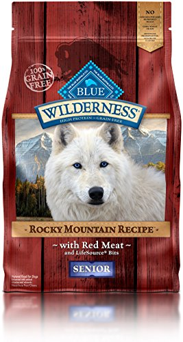 Blue Buffalo Wilderness Rocky Mountain Recipe High Protein Grain Free, Natural Senior Dry Dog Food, Red Meat 4-lb