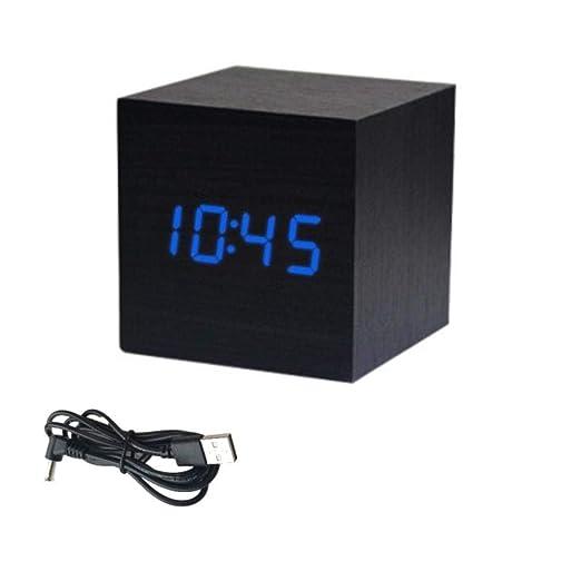 MOMO Cubo Reloj de Madera LED Digital Mesa de Escritorio Reloj ...
