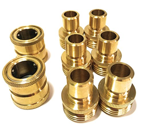 Brass Male Quick Connector - Garden Hose Quick Connect Set, Extra 10 Washers, 2 Female Connectors + 6 Male Connectors.