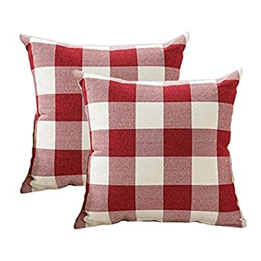4TH Emotion Christmas Throw Pillow Covers 18x18 Inch Red White Buffalo Check Plaid Cushion Case Cotton Linen Farmhouse Decorative for Sofa, Set of 2