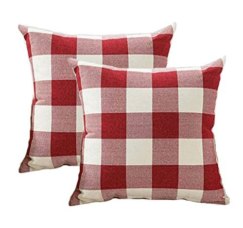 4TH Emotion Christmas Throw Pillow Covers 18x18 Inch Red White Buffalo Check Plaid Cushion Case Cotton Linen Farmhouse Valentines Day Decorative for Sofa, Set of 2