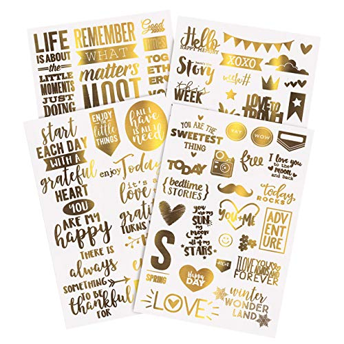 Limited Edition, Gold Transfers Stickers55 PCS | Scrapbook Stickers| Love Stickers| Scrapbook Supplies| Christmas cards | Stop Following & Start Influencing. Designed in California & Amazon Exclusive!