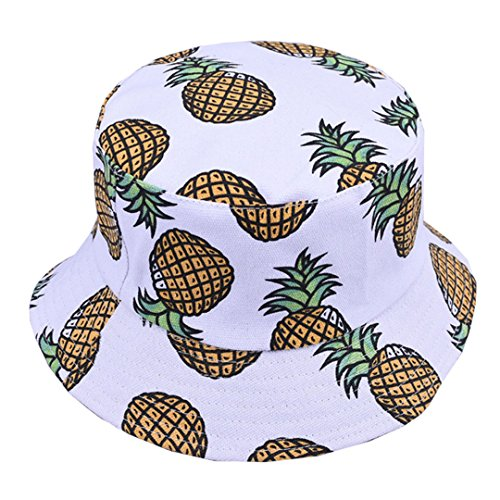 Pineapple Pattern Bucket Hat Unisex Fruit Print Fisherman Cap Summer  Packable Reversible Sun Hat (White) d451ddbd8b74