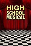 A.Monamour High School Musical Theme Red Stage Drapery Black And White Checked Floor Activity Wall Decoration Mural Photo Backdrops