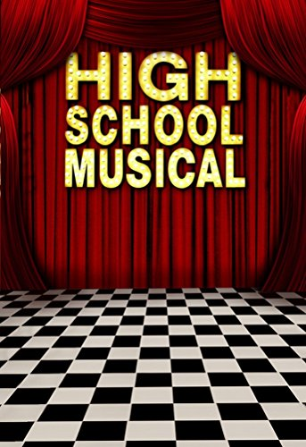 A.Monamour High School Musical Theme Red Stage Drapery Black and White Checked Floor Activity Wall Decoration Mural Photo Backdrops ()