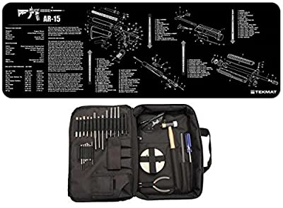 NCSTAR TGSETK Essential Complete Armorers Gunsmith Tool Kit + Ultimate Arms Gear Black Cleaning Work Tool Bench Gun Mat For AR15 AR-15 AR 15 M4 M16 Rifle