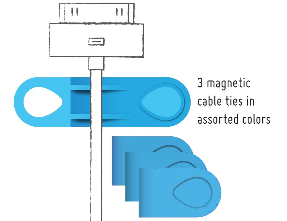 MOS Magnetic Cable Tie 3-pack, Replacements for use with MOS organizer