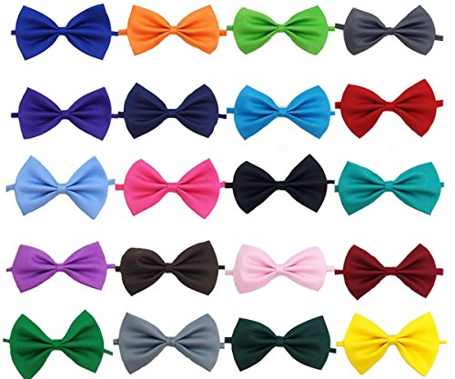 Glittermall  Solid Color Adjustable Boys Kids Bow Tie Collection - 20 Mixed Color/20pcs