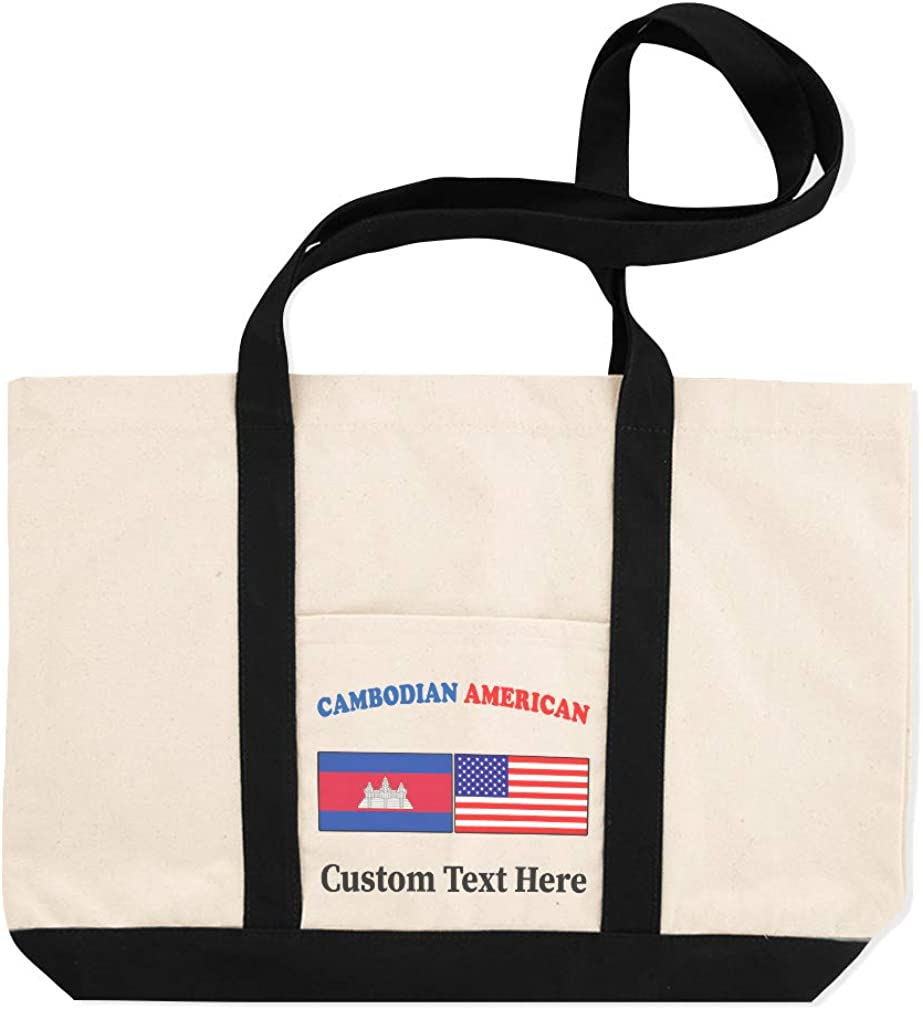Canvas Shopping Tote Bag Cambodian American Countries American Flag Beach Bags for Women