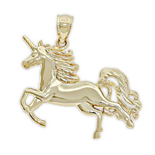 Gold Unicorn Charm - Charm America Gold Unicorn Charm - 14 Karat Solid Gold